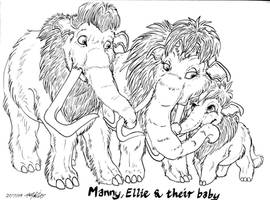 Manny, Ellie and Peaches by Senshee
