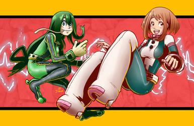 Shonen Jump Girls - Uraraka Ochako and Tsuyu Asui by kentaropjj