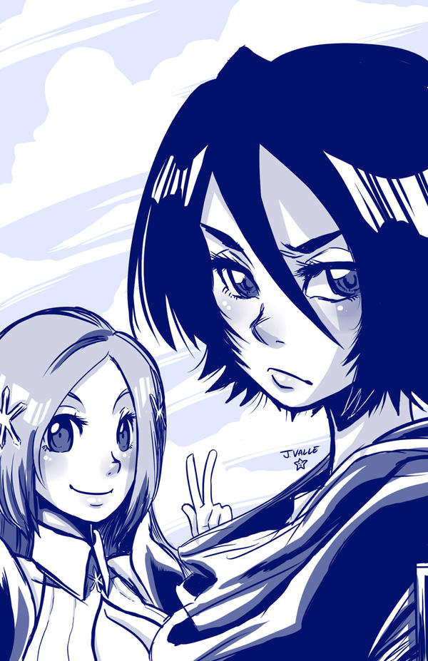 Shonen Jump Girls - Rukia and Orihime by kentaropjj