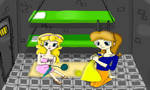 Peach and Daisy Knitting by NoTeethBilly