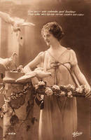 Vintage French Lady with Doves by HauntingVisionsStock