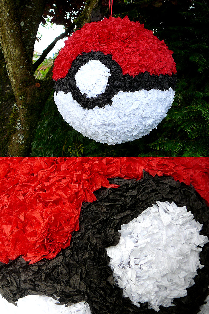how to make a paper mache pokeball