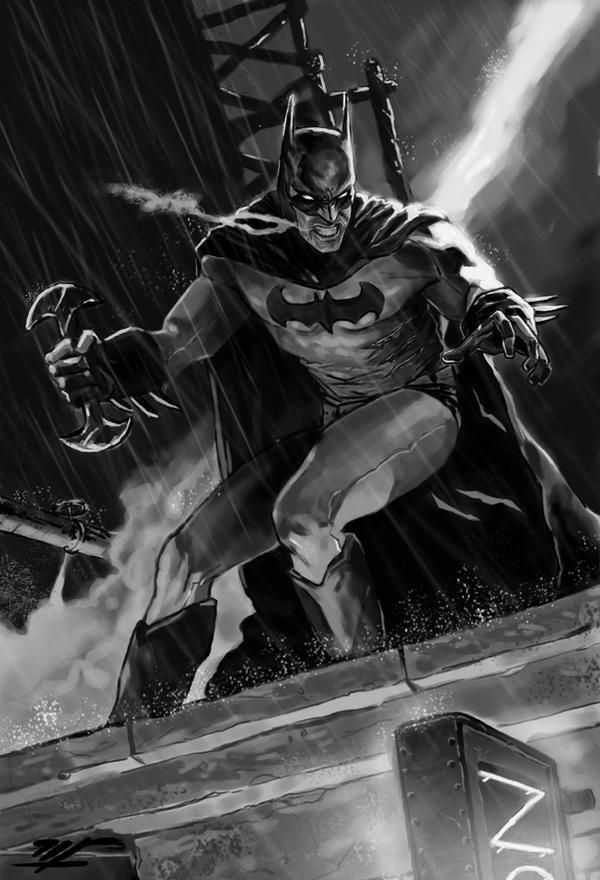 batman bw by Mar11co