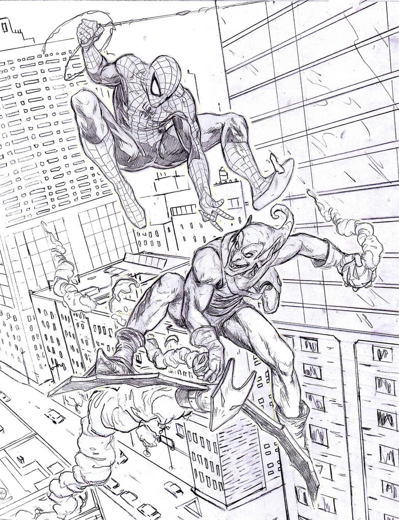 spiderman vs green goblin coloring pages - spiderman vs goblin by mar11co on deviantart