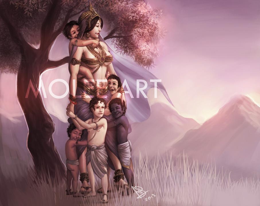 Kunti and Pandavas by molee