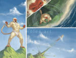 Hanuman flies