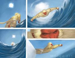 Hanuman flies 2 by molee
