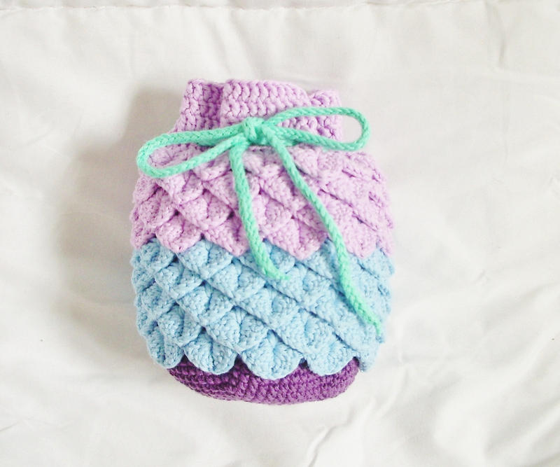 Crochet Drawstring Bag : Crocheted Kinchaku Drawstring Bag by OkashiBurochi on DeviantArt