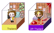 Hetalia APH : Thailand and 2P! Thailand pixel box by youngthong-art