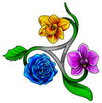 Rose, Orchid, and Daffodil Tattoo