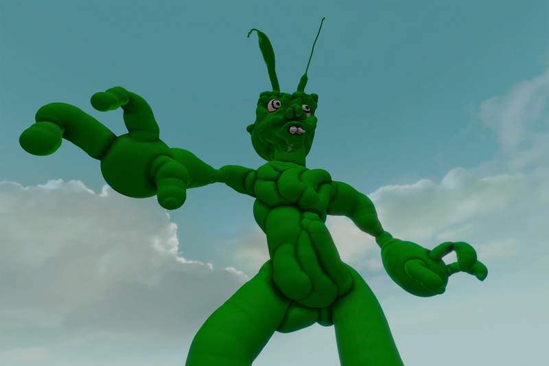 Giant Green 3D Monster by Neruvous