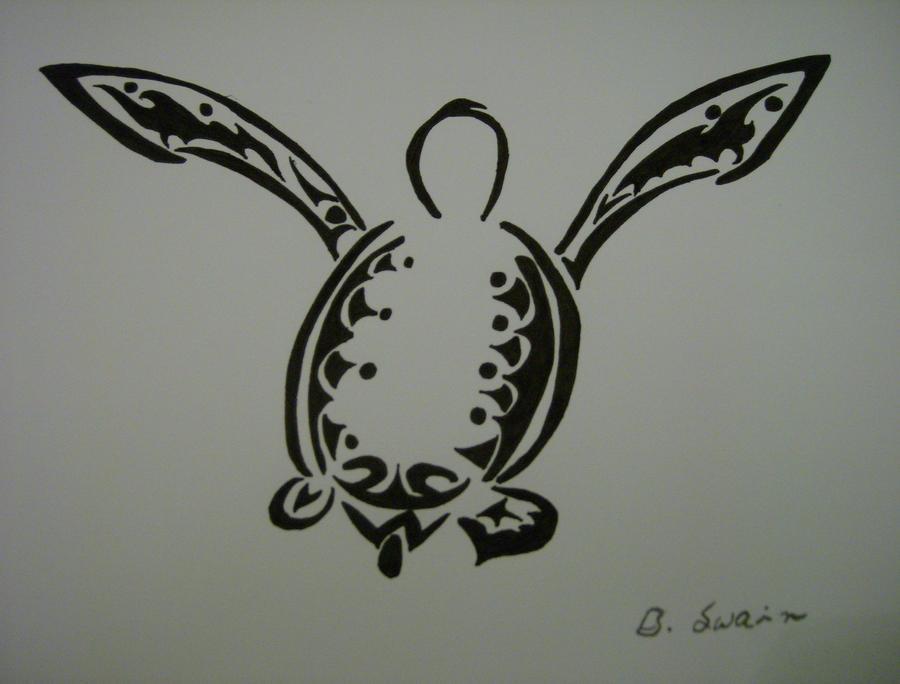 Tribal Turtle Drawings Tribal Green Turtle by 2Halves