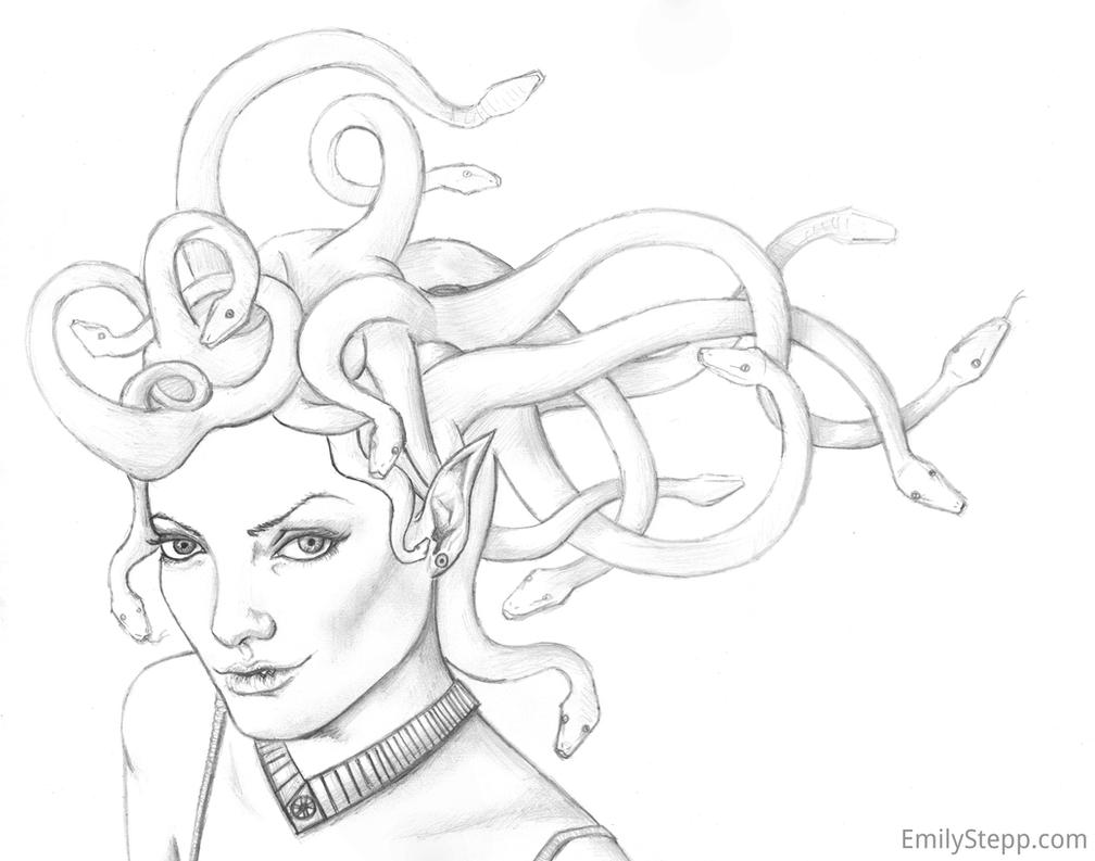 easy medusa sketch drawing sketch coloring page