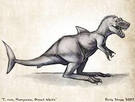 T. rex, Kangaroo, Great White Hybrid Sketch by EmilyStepp