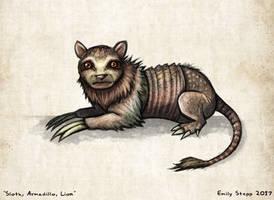 Sloth, Armadillo, Lion Hybrid Sketch by EmilyStepp