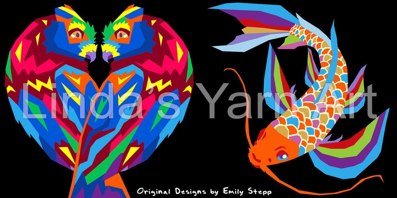 Rainbow Owls and Koi by EmilyStepp