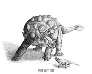 DrawDinovember Day 5 Ankylosaurus by EmilyStepp