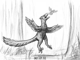 DrawDinovember Day 26 Deinonychus by EmilyStepp