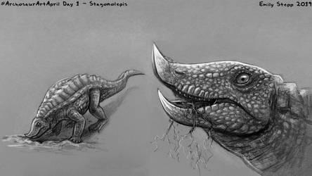 Archosaur Art April Day 3 - Stagonolepis by EmilyStepp