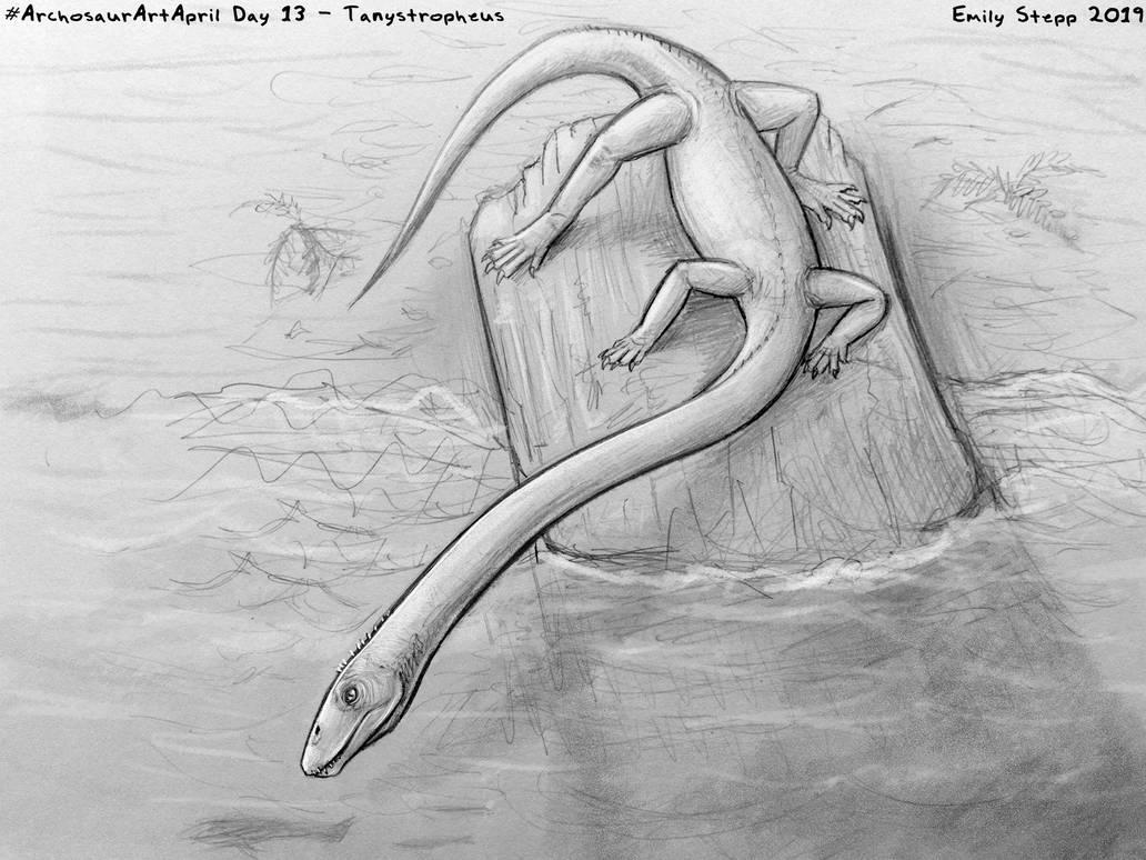 Archosaur Art April Day 13 - Tanystropheus by EmilyStepp