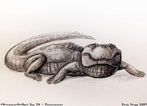 Archosaur Art April Day 24 - Purussaurus by EmilyStepp