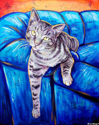 Pepper the Cat Acrylic Painting