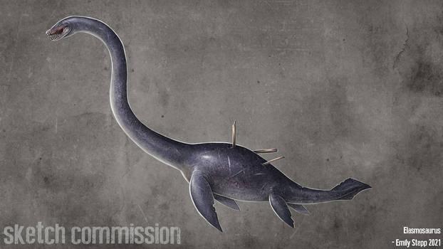 Elasmosaurus Creature Sketch Commission