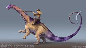 Apatosaurus Rider Sketch Commission
