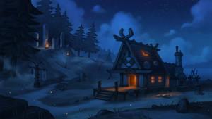 Viking blacksmith house. Part 1. The night