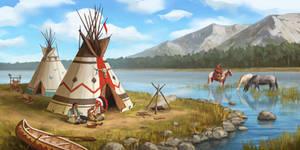 Native American camp. Environment concept art