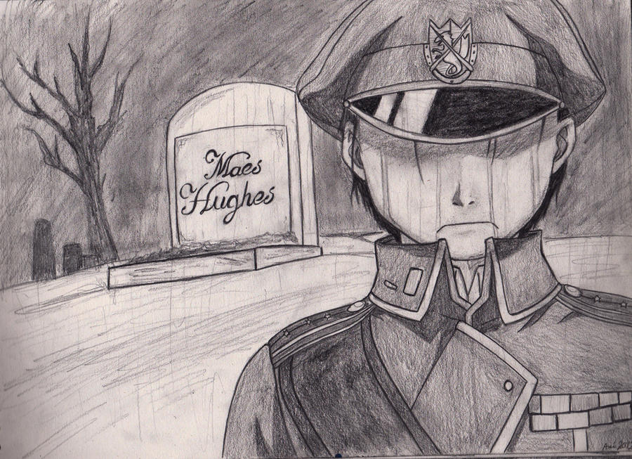 Roy Mustang at Maes Hughes funeral by Reiilynn