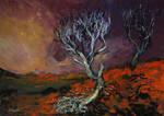 'broken Tree On The Hill' 90cmx70cm