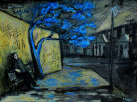 'blue Tree For Ever' 90cmx70cm by glenox66