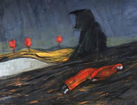 'crow And Sleeping Woman'  90cmx70cm