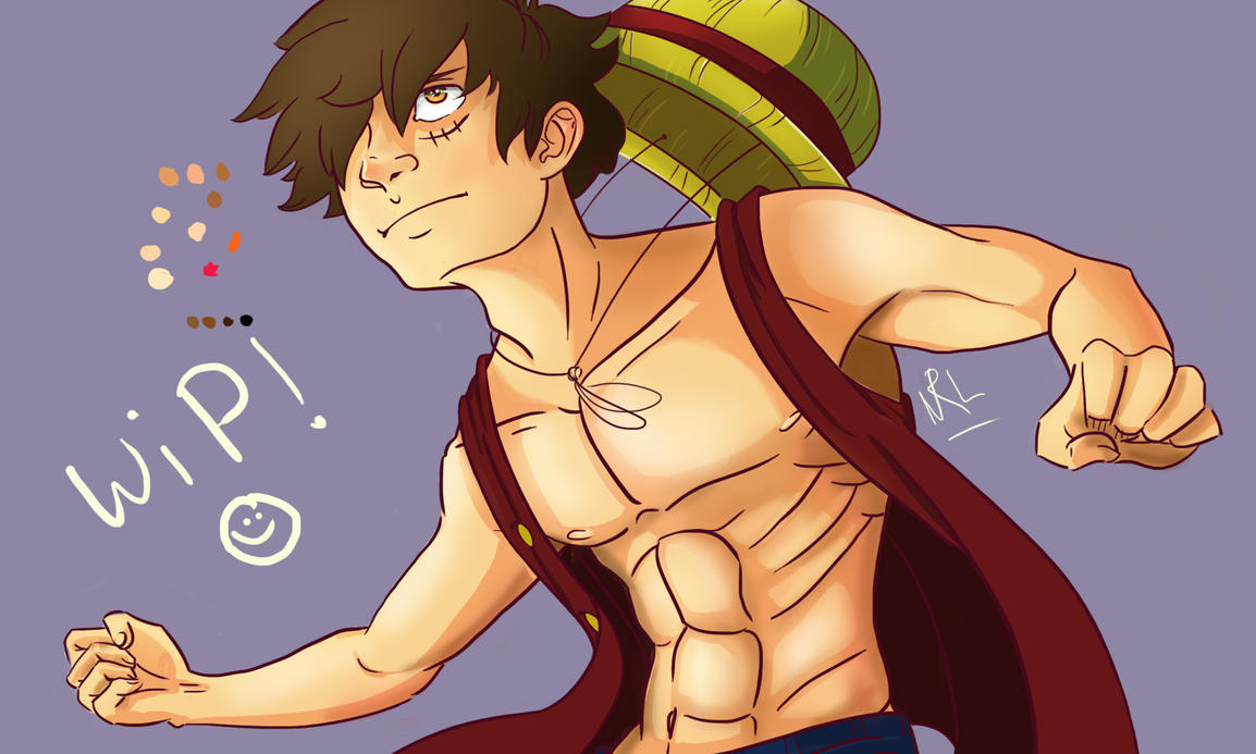 Monkey D. Luffy - WIP by ChocOlive-Flamous