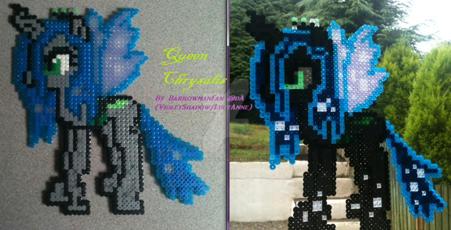 Queen Chrysalis of the Changelings ~ Perler Art by BarrowmanFan