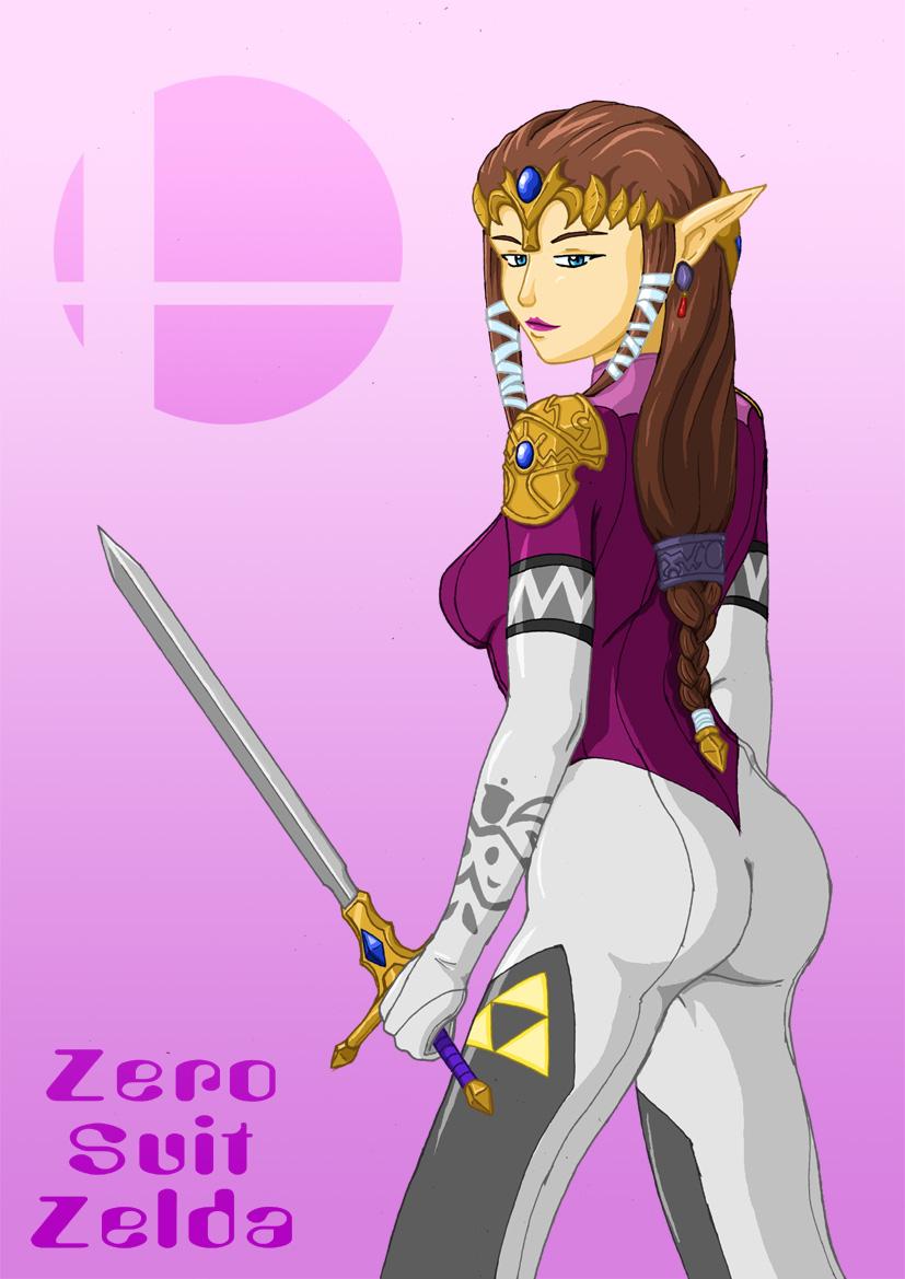 Zero suit samus and zelda kiss