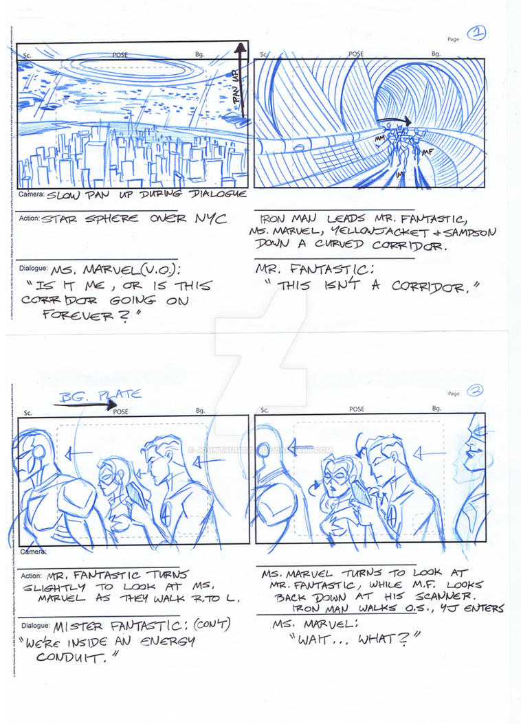 Avengers Storyboards, Pgs 01-02 by johntrumbull