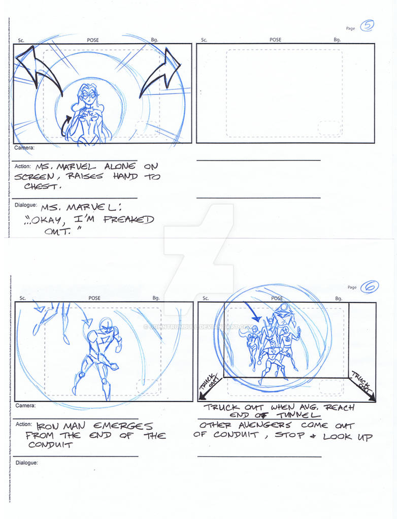 Avengers Storyboards, Pgs 05-06 by johntrumbull