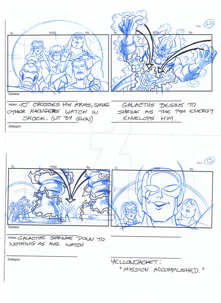 Avengers Storyboards, Pgs 12-13 by johntrumbull