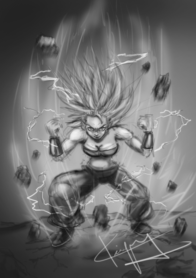 Caulifla Supersaiyan2 Bw by kiayt