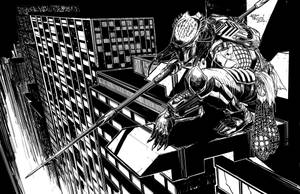 Predator Pin-up BnW line art by RobPaolucci