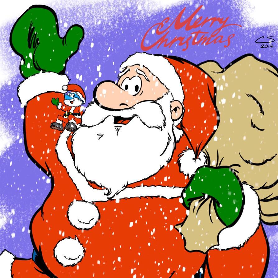 Santa Claus and Papa Smurf by Citrusman19