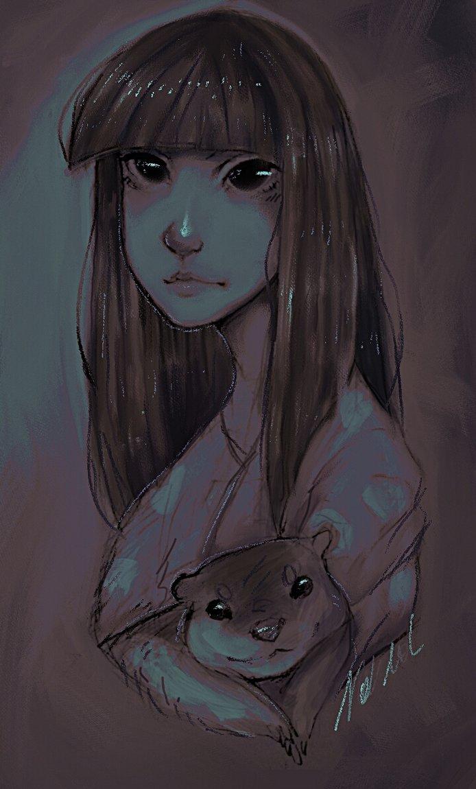 random girl with otter by Natalaa
