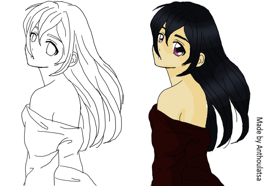 Line Drawing Face Woman : Anime line art and paint simple by iloveanimation on deviantart