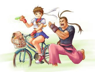 Sakura and Dan by Tarhoay