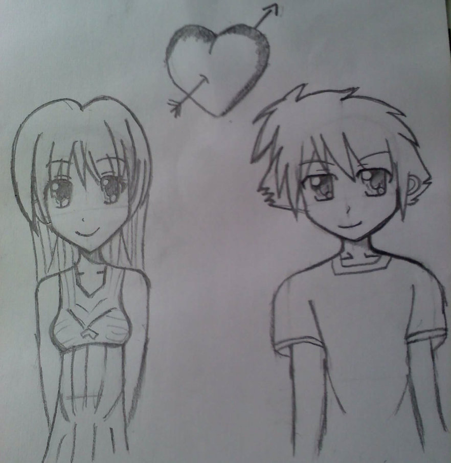 how to draw a couple in love