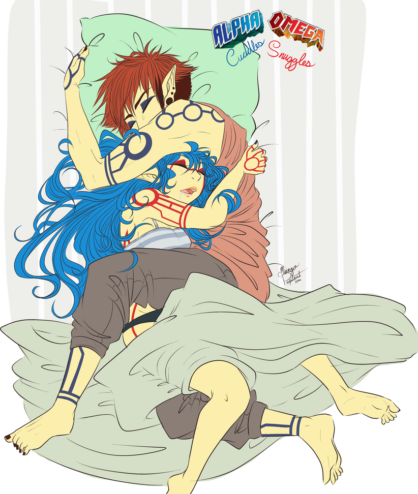 Omega cuddles and Alpha Snuggles by Mangopoptart
