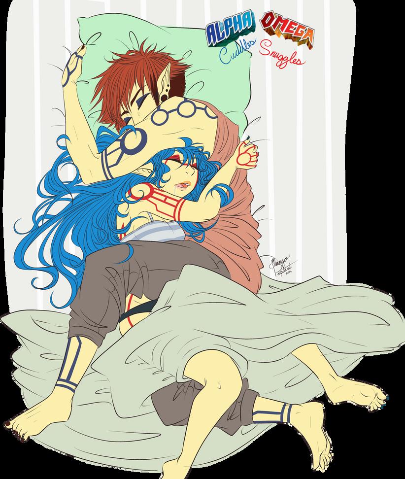 Omega cuddles and Alpha Snuggles