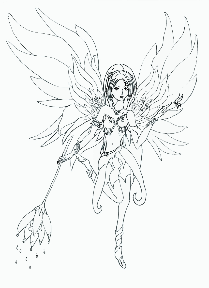 Black and white fairy clipart